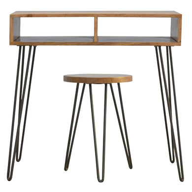 Stanlow Writing Desk and Stool comes in an oak finish with a metallic style and is available from roomshaped.co.uk