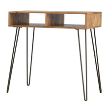 Load image into Gallery viewer, Stanlow Writing Desk and Stool comes in an oak finish and is available from roomshaped.co.uk