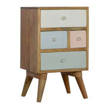 Load image into Gallery viewer, Per Bedside Drawers comes in grey and pink with a painted style and is available from roomshaped.co.uk