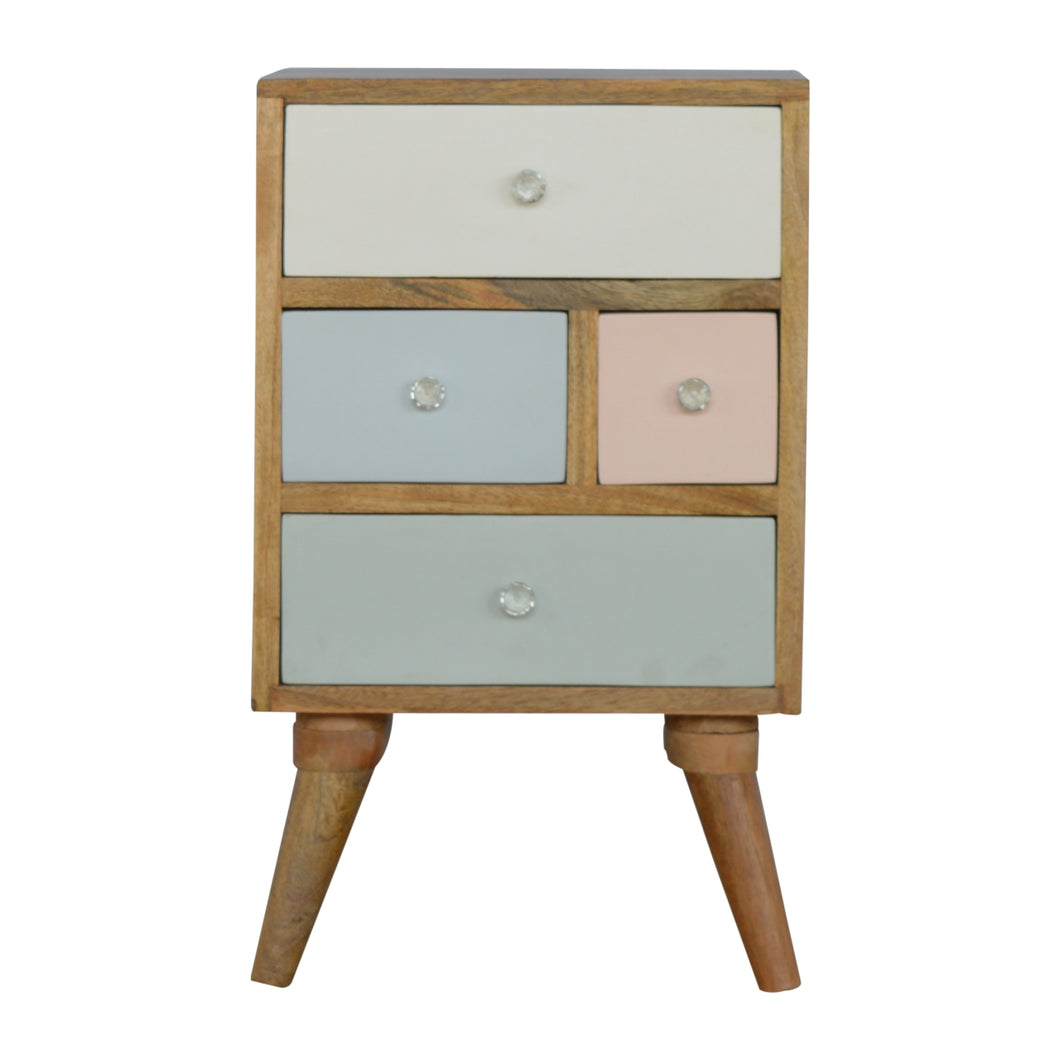 Per Bedside Drawers comes in grey and pink with a painted style and is available from roomshaped.co.uk