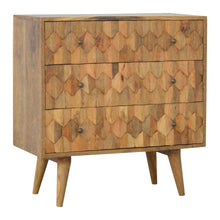 Load image into Gallery viewer, Godzimir Chest of Drawers comes in an oak finish with a country style and is available from roomshaped.co.uk