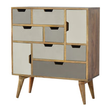 Load image into Gallery viewer, Livia Cupboard comes in grey with a painted style and is available from roomshaped.co.uk