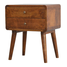 Load image into Gallery viewer, Alma Bedside Drawers comes in chestnut with a deco style and is available from roomshaped.co.uk
