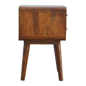 Alma Bedside Drawers comes in chestnut with a deco style and is available from roomshaped.co.uk