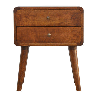 Alma Bedside Drawers comes in a chestnut finish with a deco style and is available from roomshaped.co.uk