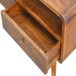 Clara Media Unit comes in chestnut with a deco style and is available from roomshaped.co.uk