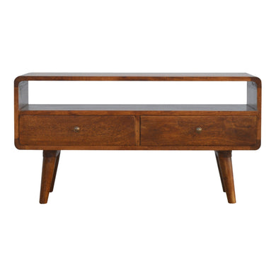 Clara Media Unit comes in a chestnut finish with a deco style and is available from roomshaped.co.uk