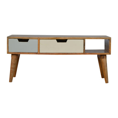 Lova Media Unit comes in an oak finish with a painted style and is available from roomshaped.co.uk