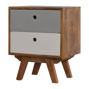 Nour Bedside Cabinet comes in grey with a painted style and is available from roomshaped.co.uk