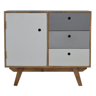 Sophia Cabinet comes in grey with a painted style and is available from roomshaped.co.uk
