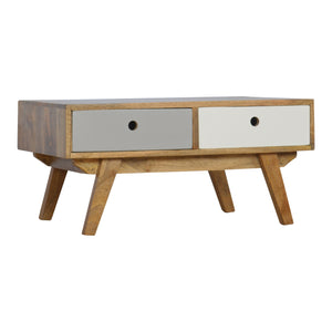 Sara Coffee Table comes in grey with a painted style and is available from roomshaped.co.uk
