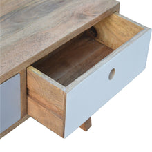 Load image into Gallery viewer, Sara Coffee Table comes in grey with a painted style and is available from roomshaped.co.uk