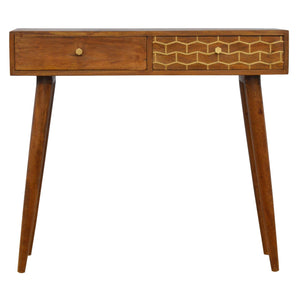 Elsa Laptop Desk comes in chestnut with a geometric style and is available from roomshaped.co.uk