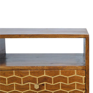 Maja Media Cabinet comes in chestnut with a geometric style and is available from roomshaped.co.uk