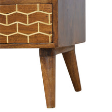 Load image into Gallery viewer, Maja Media Cabinet comes in chestnut with a geometric style and is available from roomshaped.co.uk