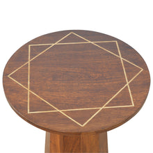 Load image into Gallery viewer, Herbert Side Table comes in chestnut with a geometric style and is available from roomshaped.co.uk