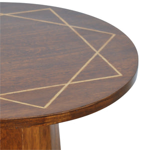 Herbert Side Table comes in chestnut with a geometric style and is available from roomshaped.co.uk