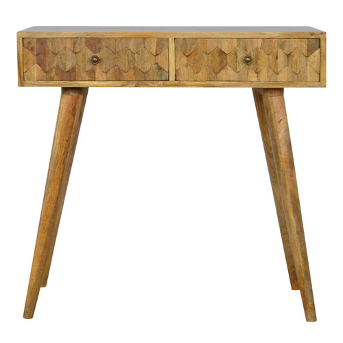 Lavendon Desk comes in an oak finish with a carved style and is available from roomshaped.co.uk