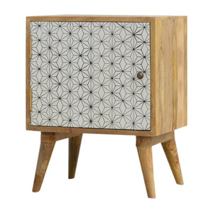 Tyra Bedside Table comes in white with a geometric style and is available from roomshaped.co.uk