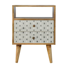 Load image into Gallery viewer, Sigrid Bedside Table comes in white with a geometric style and is available from roomshaped.co.uk