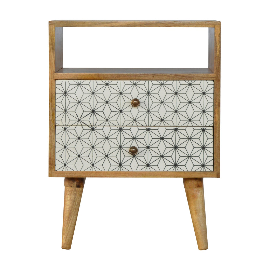 Sigrid Bedside Table comes in white with a geometric style and is available from roomshaped.co.uk