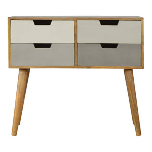 Lina Console comes in grey with a painted style and is available from roomshaped.co.uk