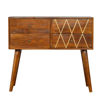 Nikola Chest of Drawers comes in chestnut with a geometric style and is available from roomshaped.co.uk