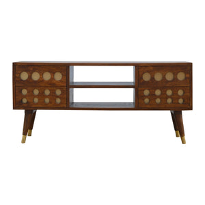Svetlana Media Unit comes in chestnut and a gold finish with a geometric style and is available from roomshaped.co.uk