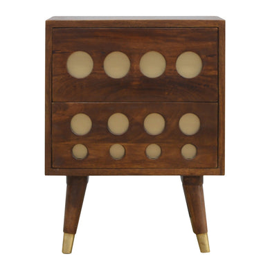 Bartolomew Bedside Table comes in chestnut with a geometric style and is available from roomshaped.co.uk