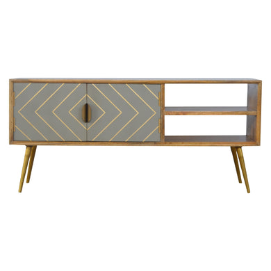 Antoni Media Cabinet comes in grey and an oak finish with a geometric style and is available from roomshaped.co.uk