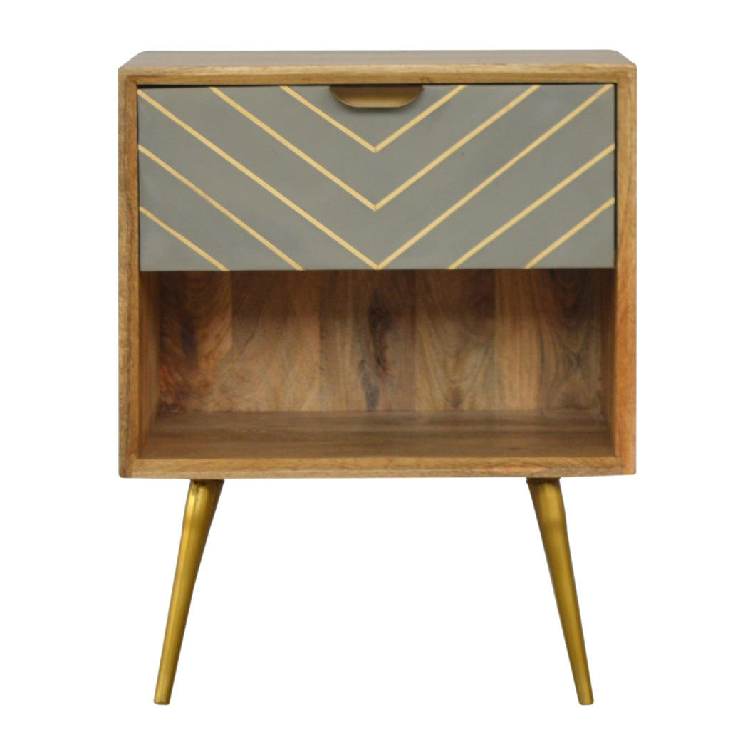 Jakub Bedside Table comes in grey and an oak finish with a geometric style and is available from roomshaped.co.uk