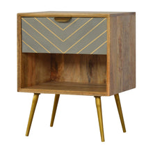 Load image into Gallery viewer, Jakub Bedside Table comes in grey and an oak finish with a geometric style and is available from roomshaped.co.uk