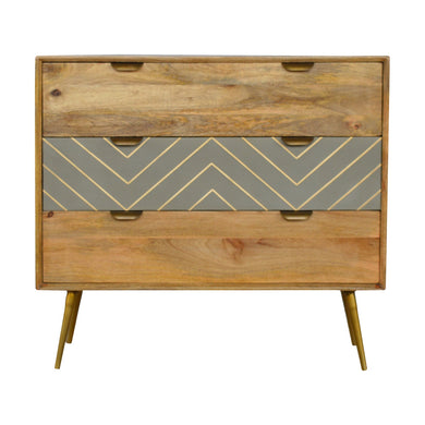 Filip Chest of Drawers comes in grey and an oak finish with a geometric style and is available from roomshaped.co.uk
