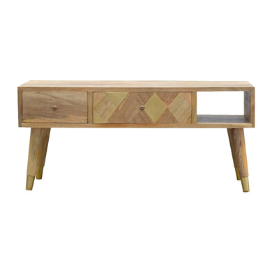 Marek Media Unit comes in an oak finish with a metallic style and is available from roomshaped.co.uk