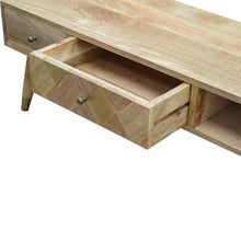 Load image into Gallery viewer, Marek Media Unit comes in an oak finish with a geometric style and is available from roomshaped.co.uk