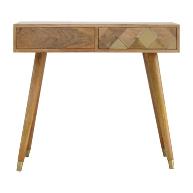 Jurand Console Table comes in an oak finish with a geometric style and is available from roomshaped.co.uk