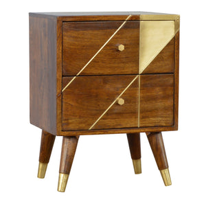 Katarina Bedside Table comes in chestnut and a gold finish with a geometric style and is available from roomshaped.co.uk