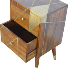 Load image into Gallery viewer, Katarina Bedside Table comes in chestnut and a gold finish with a geometric style and is available from roomshaped.co.uk