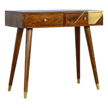 Load image into Gallery viewer, Padua Desk comes in chestnut with a deco style and is available from roomshaped.co.uk