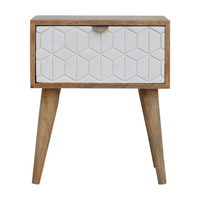 Peter Bedside Table comes in white with a painted style and is available from roomshaped.co.uk