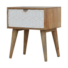 Load image into Gallery viewer, Peter Bedside Table comes in white with a geometric style and is available from roomshaped.co.uk