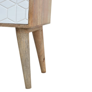 Peter Bedside Table comes in white with a geometric style and is available from roomshaped.co.uk