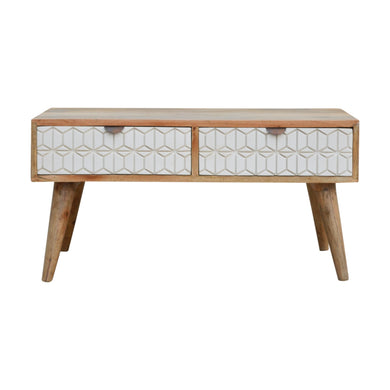 Gunnar Coffee Table comes in grey and white with a geometric style and is available from roomshaped.co.uk