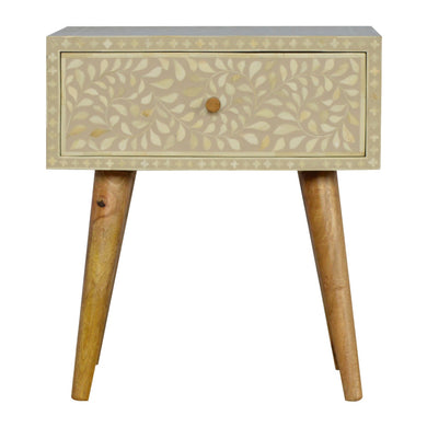 Veronica Bedside Table comes in grey with a deco style and is available from roomshaped.co.uk