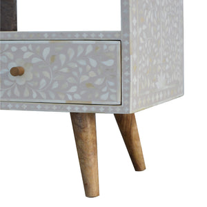 Ivan Media Unit comes in grey with a deco style and is available from roomshaped.co.uk