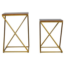 Load image into Gallery viewer, Ulli Nesting Side Tables comes in chestnut and a gold finish with a gold frame style and is available from roomshaped.co.uk