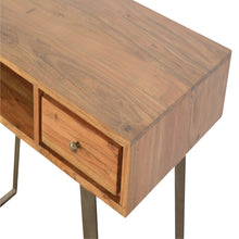Load image into Gallery viewer, Jaak Desk has a metallic style and is available from roomshaped.co.uk