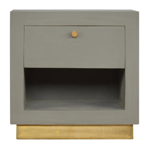 Ludvik Bedside Table comes in a gold finish and grey with a painted style and is available from roomshaped.co.uk