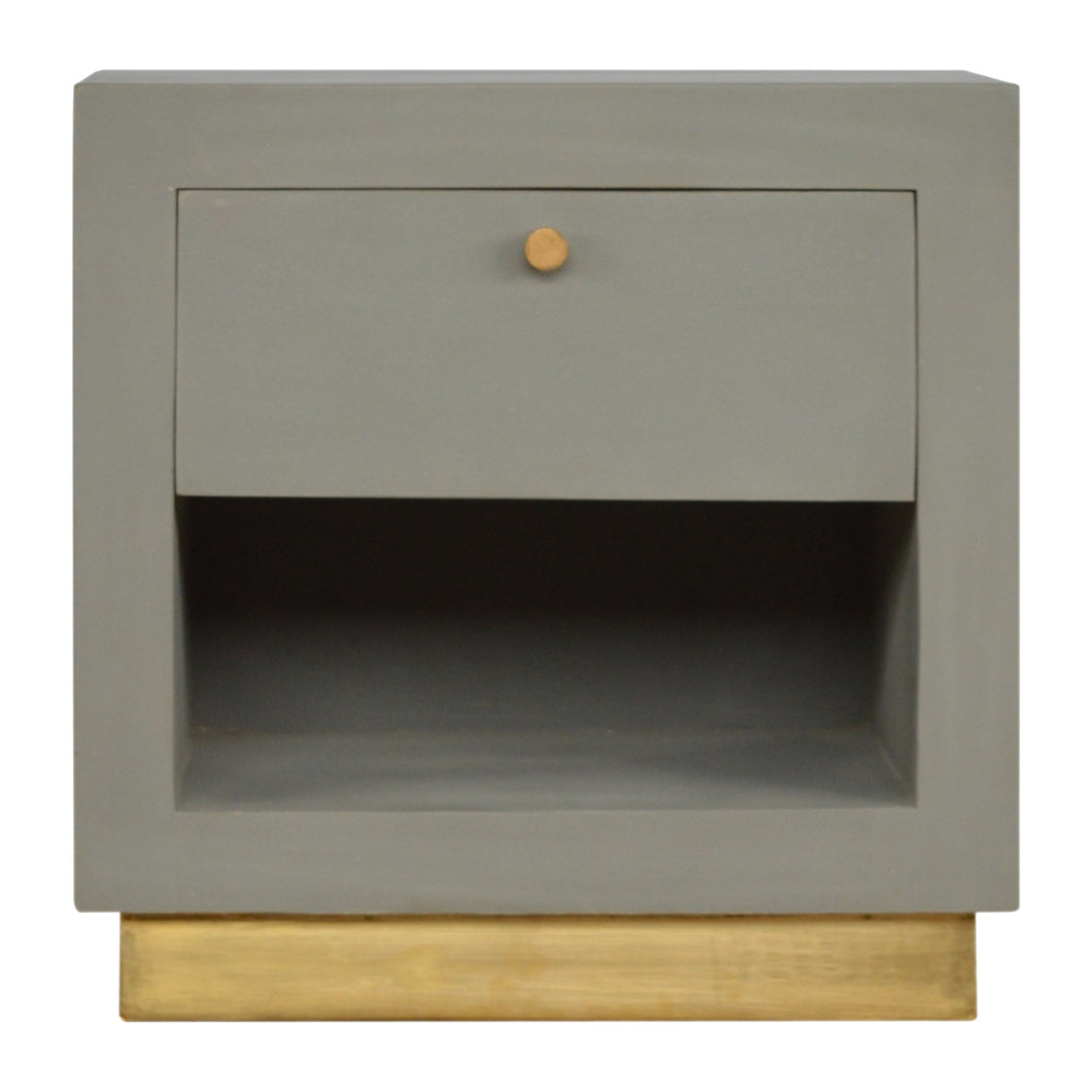Ludvik Bedside Table comes in grey with a painted style and is available from roomshaped.co.uk