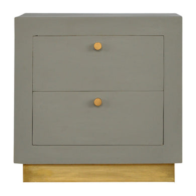 Grazyna Bedside Table comes in a gold finish and grey with a painted style and is available from roomshaped.co.uk